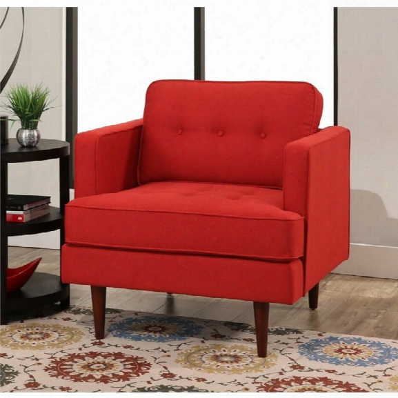 Abbyson Living Justin Mid Century Tufted Armchair In Red