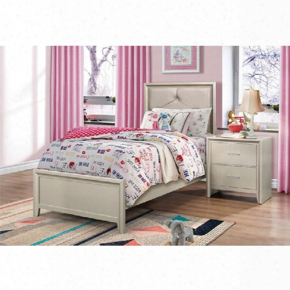 Coasterlana 5 Piece Upholstered Twin Bedroom Set In Silver