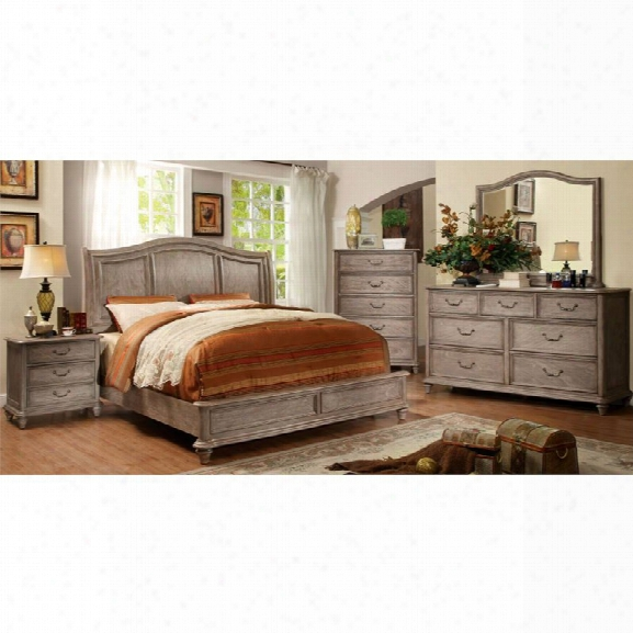 Furniture Of America Calpa 4 Piece King Bedroom Set In Rustic Grey