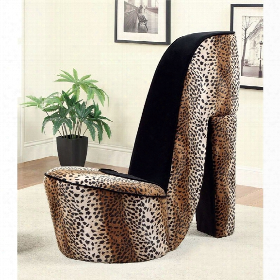 Furniture Of America Starlet Flannelette Heel Accent Chair In Leopard