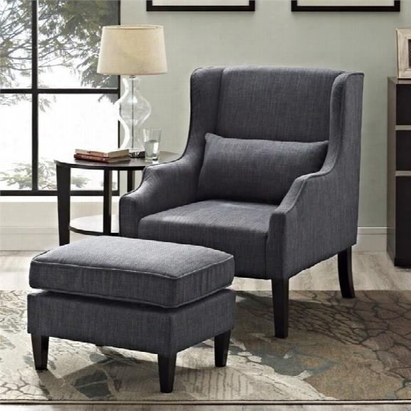 Simpli Home Ashbury Wingback Club Chair And Ottoman In Gray