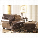 Ashley Chaling DuraBlend Accent Chair with Ottoman in Antique