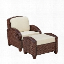 Home Styles Cabana Banana III Accnet Chair and Ottoman in Cinnamon