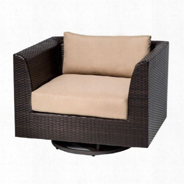 Tkc Barbados Outdoor Wicker Swivel Chair In Wheat