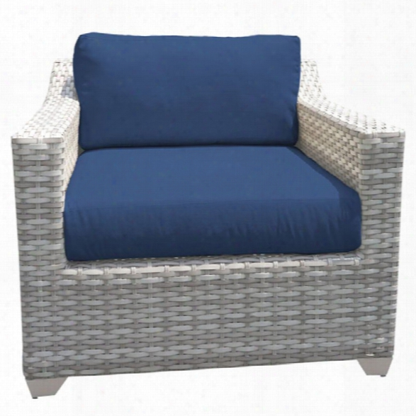 Tkc Fairmont Patio Wicker Club Chair In Navy