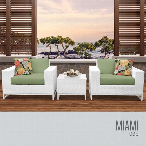 Tkc Miami 3 Piece Patio Wicker Conversation Set In Green