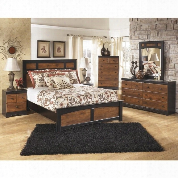 Ashley Aimwell 6 Piece Wood Queen Panel Bedroom Set In Brown