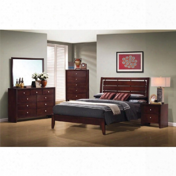 Coaster Serenity 5 Piece Full Panel Bedroom Set In Rich Merlot