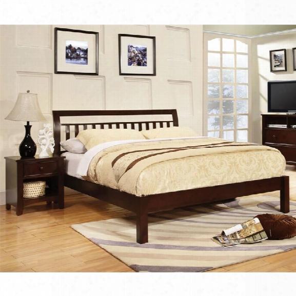 Furniture Of America Elena 2 Piece Queen Slat Bedroom Set In Dark Walnut