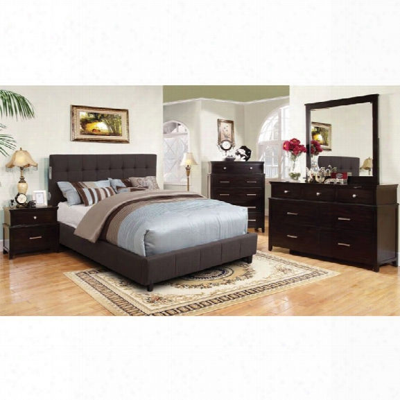 Furniture Of America Janata 4 Piece King Bedroom Set In Gray