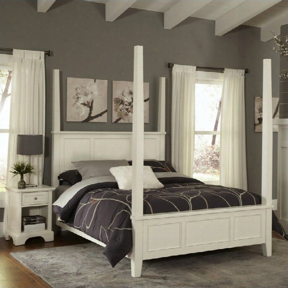 Home Styles Naples Poster 2 Piece Bedroom Set (bed And Night Stand) In White-queen
