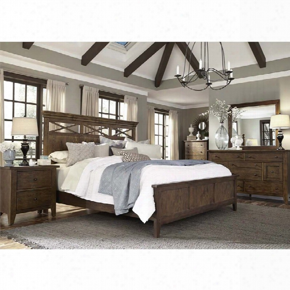 Liberty Furniture Hearthstone 5 Piece Queen Panel Bedroom Set In Oak