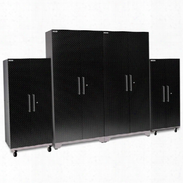 Newage Performance Plus 2.0 4 Piece Diamond Plate Cabinet Set In Black