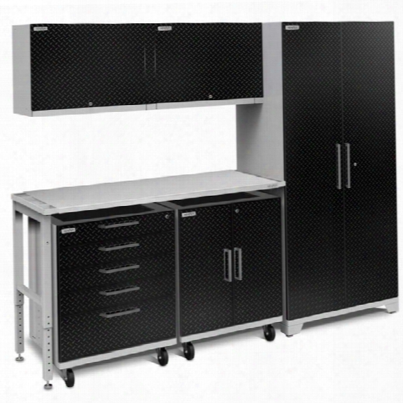 Newage Performance Pluus 2.0 6 Piece Diamond Plate Cabinet Set In Black