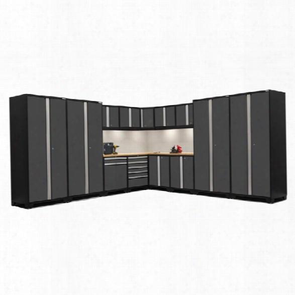Newage Pro Series 15 Piece Garage Corner Cabinet Set In Gray