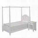 Home Styles Bermuda 2 Piece Wood Twin Canopy Bedroom Set in White