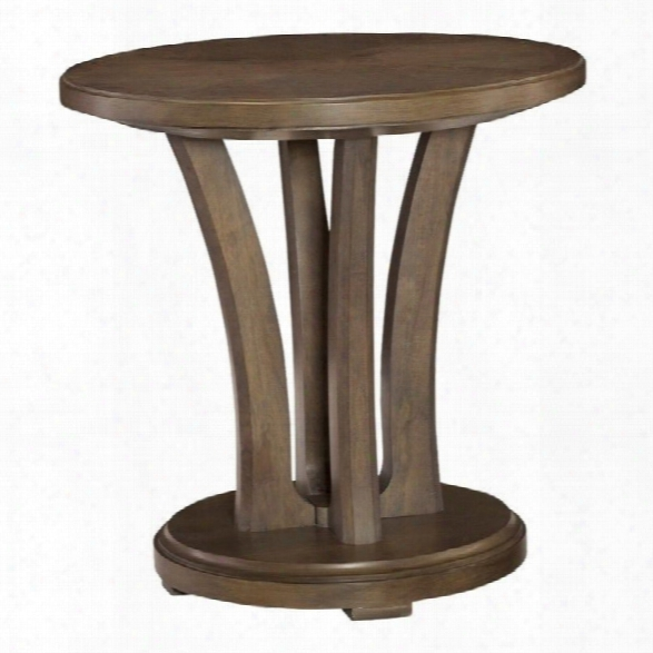 Americzn Drew Park Studio Round Wood Lamp Table In Taupe