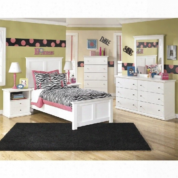 Ashley Bostwick Shoals 6 Piece Wood Twin Panel Bedroom Set In White