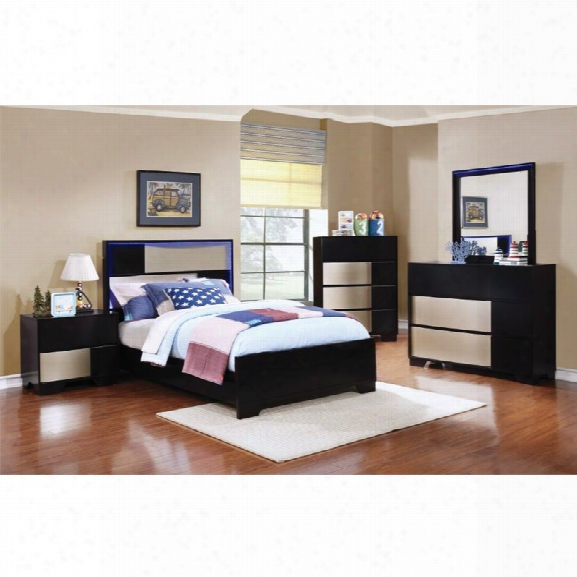 Coaster Havering 4 Piece Twin Led Panel Bedroom Set In Black