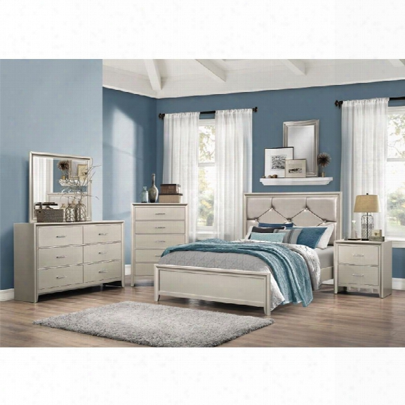 Coaster Lana 4 Piece Upholstered King Bedroom Set In Silver