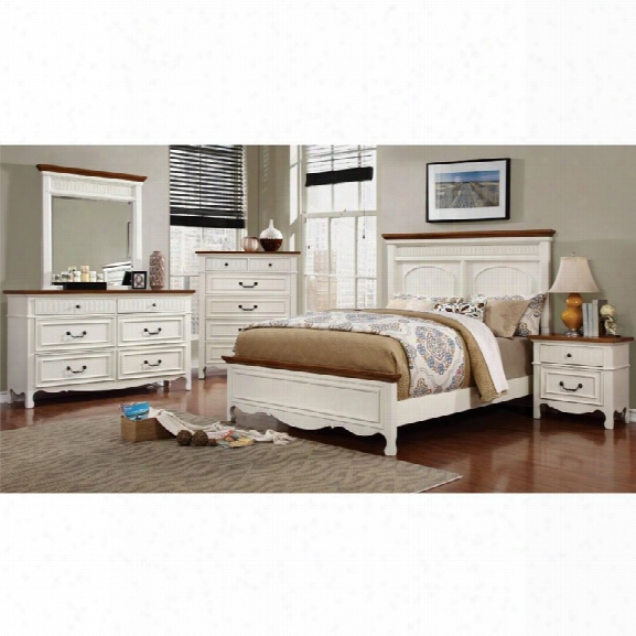 Furniture Of America Darla 4 Piece King Bedroom Set In White And Oak
