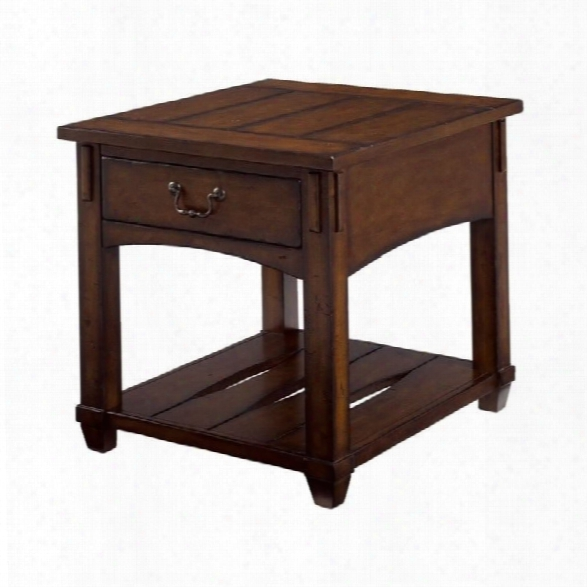 Hammary Tacoma Rectangular Drawer End Table In Rustic Brown