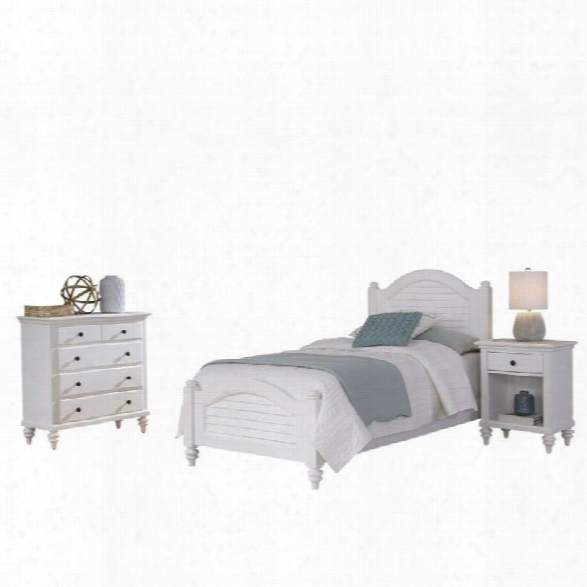 Home Styles Bermuda 3 Piece Wood Twin Bedroom Set In White