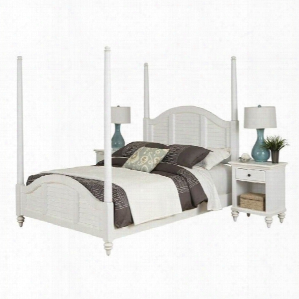 Home Styles Bermuda Poster Bed And Two Night Stands White Finish-queen