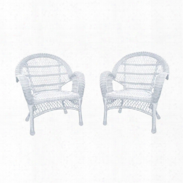 Jeco Wicker Chair In White (set Of 4)