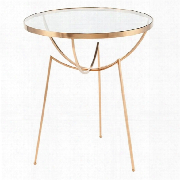 Nuevo Areille Round Glass Top End Table In Brass