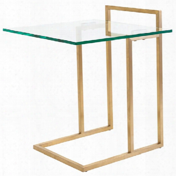 Nuevo Enna Glass Top End Table In Gold