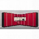 NewAge Pro Series 15 Piece Garage Corner Cabinet Set in Red