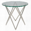 Nuevo Lattice Round Glass Top End Table in Silver