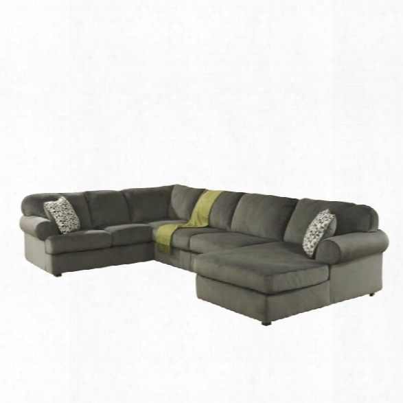 Ashley Jessa Place 3 Piece Microfiber Right Chaise Sectional In Pewter