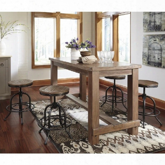 Ashley Pinnadel 5 Piece Counter Height Dining Set In Light Brown