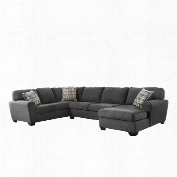 Ashley Sorenton 3 Piece Fabric Right Chaise Sectional In Slate