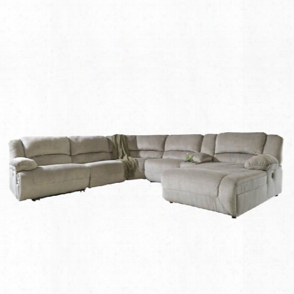 Ashley Toletta 6 Piece Right Chaise Power Console Sectional In Granite