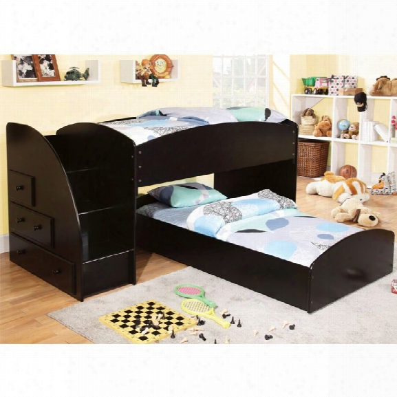 Furniture Of America Adelley Twin Over Twin Bunk Bed In Black