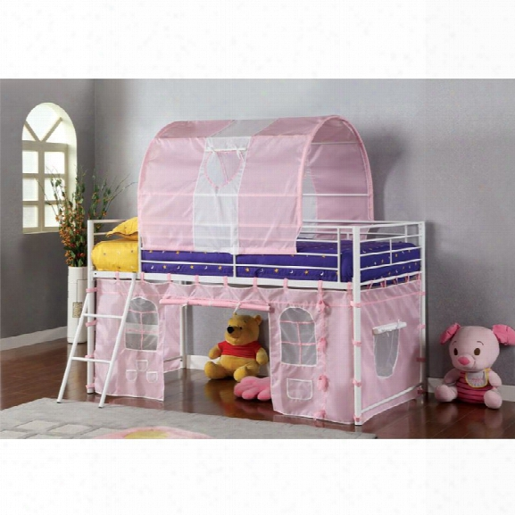 Furniture Of America Kelby Twin Loft Bed With Castle Playhouse In Pink