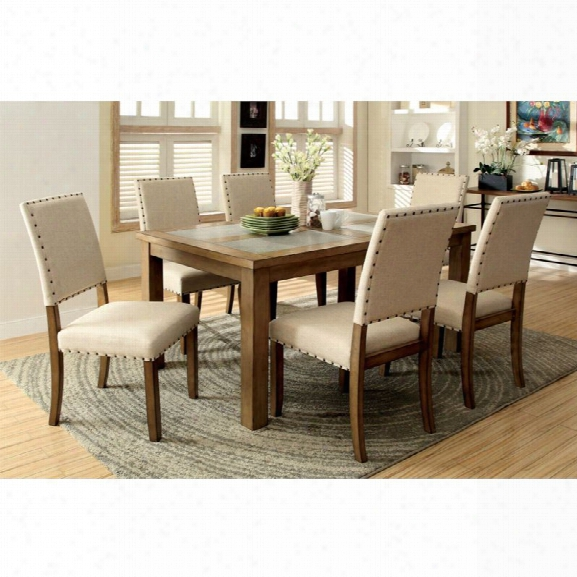 Furniture Of America Spier 7 Piece Dining Set In Natural Wood
