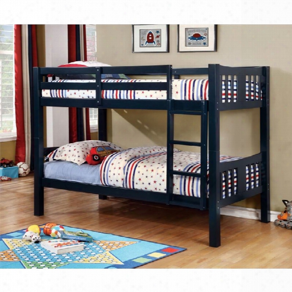 Furniture Of America Yasmine Twin Over Twin Bunk Bed In Dark Blue