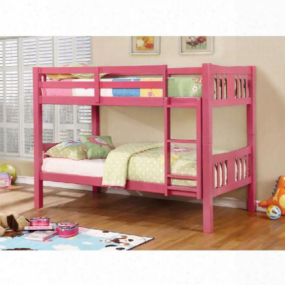 Furniture Of America Yasmine Twin Over Twin Bunk Bed In Pink