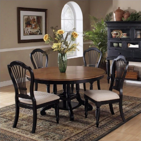 Hillsdale Wklshire 7 Piece Round Dining Table Set In Pine And Black