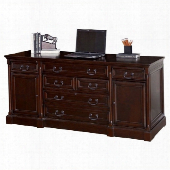 Kathy Ireland Home By Martin Mount View Wood Computer Credenza In Cherry Cobblestone