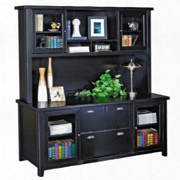 Kathy Ireland Home By Martin Tribeca Loft Black Credenza With Hutch With Sliding Doors