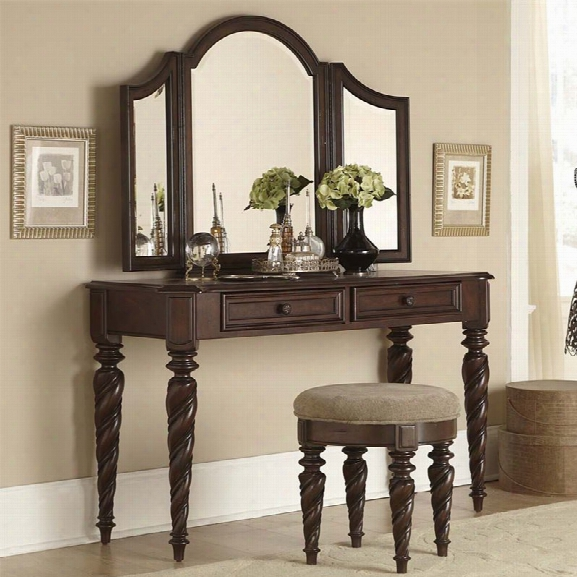 Liberty Furniture Arbor Place 3 Piece Bedroom Vanity Set In Brownstone