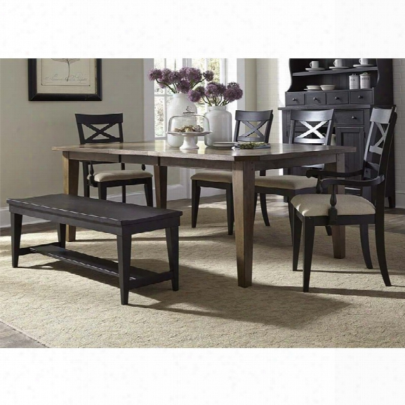 Liberty Furniture Hearthstone 6 Piece Dining Set In Rustic Oak