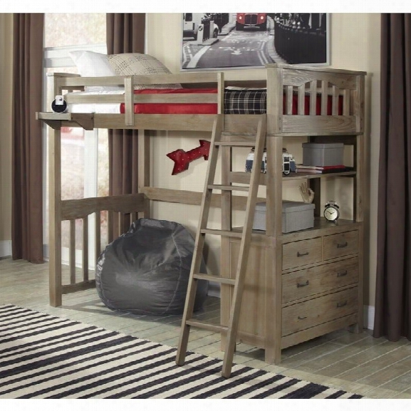 Ne Kids Highlands Twin Loft Bed In Driftwood