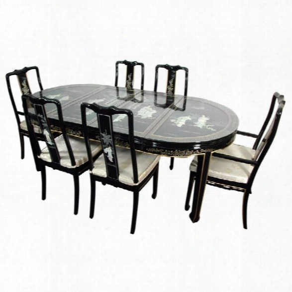 Oriental Furniture Mother Of Pearl Dining Room Set In Black