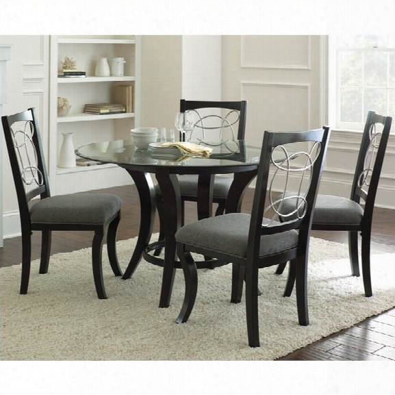 Steve Silver Company Cayman 5 Piece Round Dininh Table Set In Black